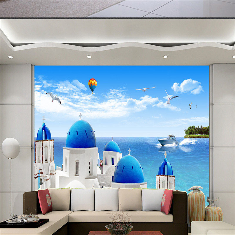 Custom Wallpapers 3D Stereoscopic Photo Wall Murals Blue Sky Sea Nature Landscape Wall Papers for Living Room Bedroom Home Decor custom 3d murals forests trees rays of light tree nature photo wall living room sofa tv wall bedroom restaurant wallpapers
