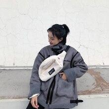 3cef4dc585 Moda bolso de cintura de felpa de lana de cordero Paquete de pecho Unisex  Casual bolsa de pecho de mujer viaje riñonera bolsas d.