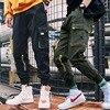Streetwear Black Harem Pants Men Elastic Waist Punk Pants With Ribbons Casual Slim Jogger Pants Men Hip Hop Trousers 11