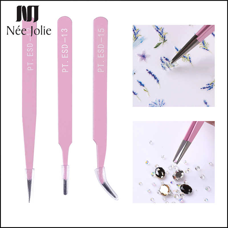NEE JOLIE 1Pc Stainless Steel Tweezer Straight Curved Tweezer Angle Head Rhinestone 3D Sticker Picker Manicure Beauty Nail Tool