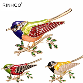 Rhinestone Colorful Enamel Oriole Bird Branch Brooch Pins Men Women's Alloy Bird Brooches For Suits Dress Banquet Brooch Gift цена 2017