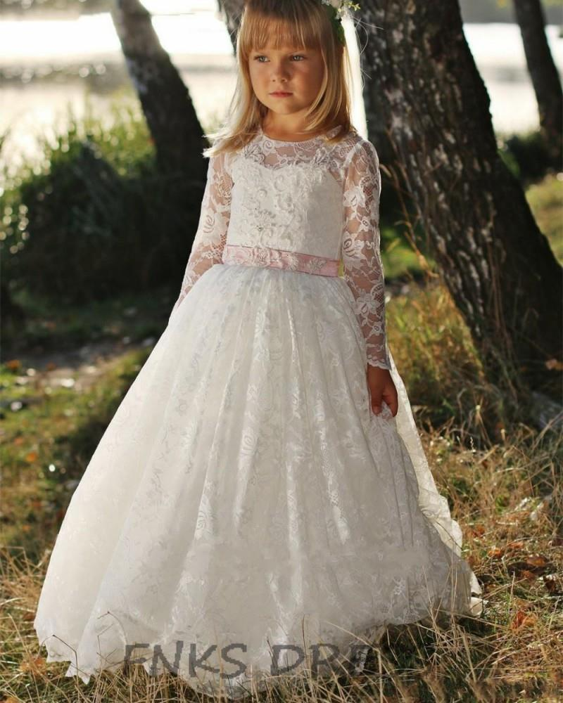 c6f47fcfebf0e Rustic Lace Flower Girl Dresses Pink Sash Long Sleeves Fitted First  Communion Gowns Girls Birthday Formal Party Dress WD11-in Flower Girl  Dresses from ...