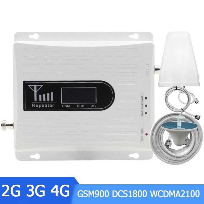 Répéteur de Signal Mobile à trois bandes GSM 900 MHz DCS LTE 1800 MHz WCDMA UMTS 2100 MHz 2G 3G 4G amplificateur de Signal A54321 *