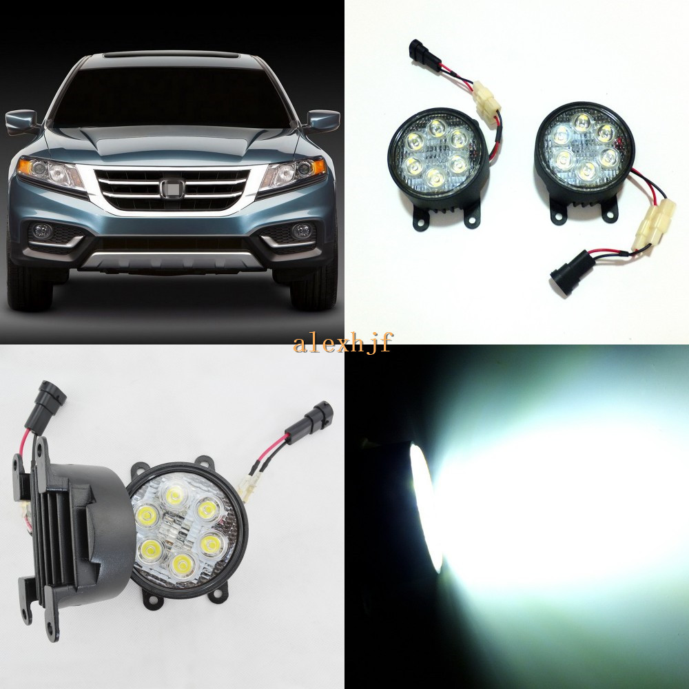 July King 18W 6LEDs H11 LED Fog Lamp Assembly Case for Honda Crosstour 2013~ON, 6500K 1260LM LED Daytime Running Lights july king led daytime running lights 6500k 18w led fog lamps case for honda crv fit city crosstour everus and acura 2013 on etc
