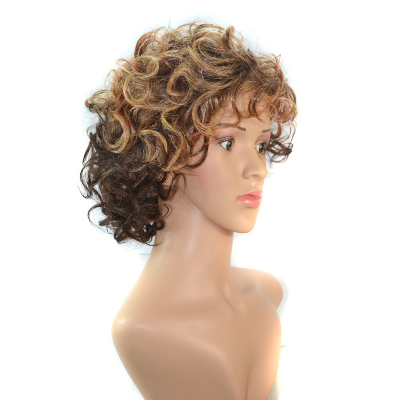 Soloowigs Lady Curly Brown Two Tone Ombre Full Lace Wigs High Temperature Fiber Synthetic Hair Pieces for Middle Aged Woman