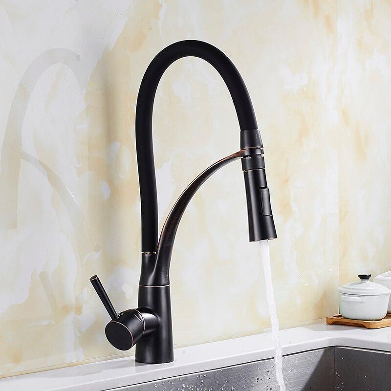 Robinets de cuisine en laiton brossé avec robinet mélangeur en caoutchouc Design pour cuisine poignée unique grue montée sur pont pour éviers - 5