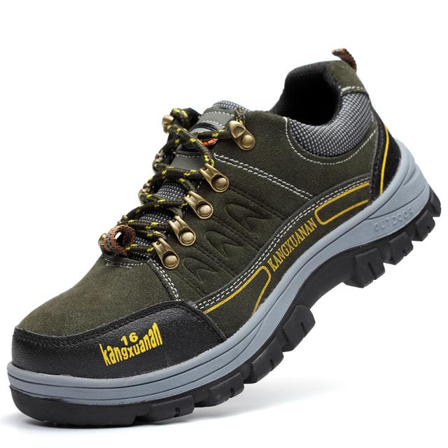 Más el tamaño de los hombres de cuero suave puntera de acero de seguridad de trabajo zapatos de herramientas botas de primavera otoño transpirable pisos lace up proteger masculino
