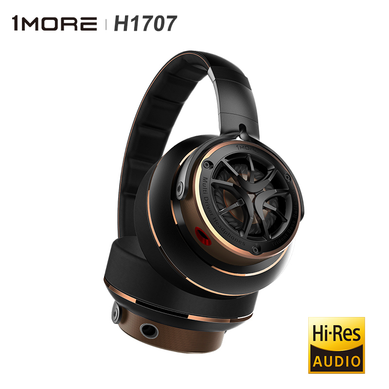 H1707 High-Res Audio Triple Dynamic Driver Over Ear <font><b>Headphone</b></font> HiFi Headset Audiophile Cabling Folding design in-line control