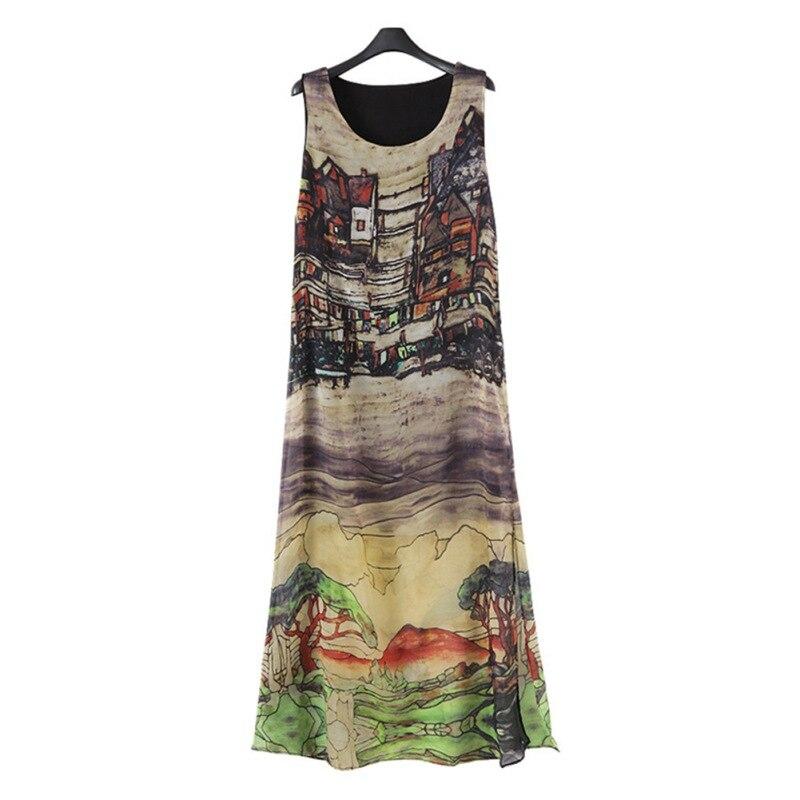 Women Sleeveless Silk Chiffon Long Maxi Skirt Summer Beach Sundress Fashion&Popular WH4