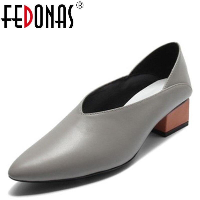 Fedonas 브랜드 wintage medium heels 클래식 신발 여성 펌프 정품 가죽 스퀘어 힐 가을 사무용 펌프 레트로 여성화-에서여성용 펌프부터 신발 의  그룹 1