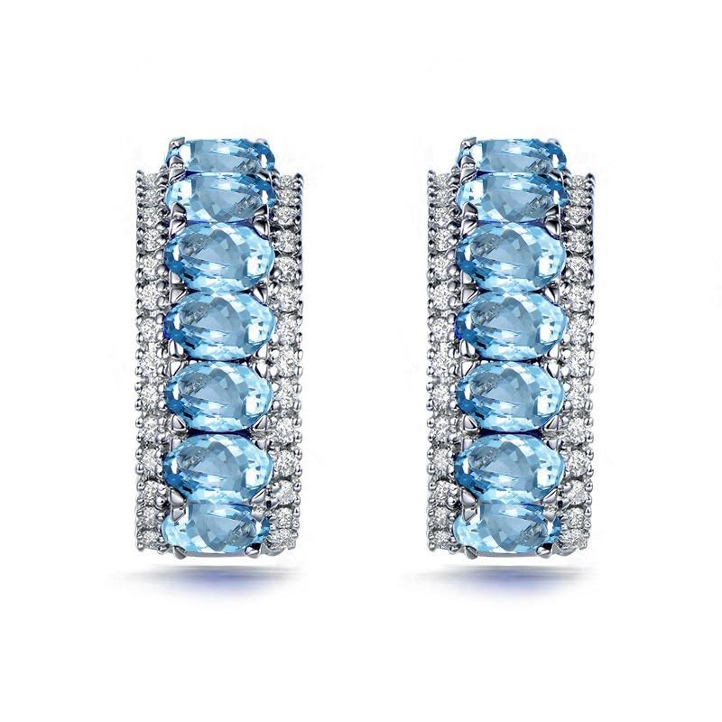 AINUOSHI naturalny niebieski Topaz łuku kliknij z powrotem kolczyk 2.5 Carat niebieski klejnoty srebrny kolczyki Trendy przebite kolczyki biżuteria dla kobiet w Kolczyki od Biżuteria i akcesoria na  Grupa 2