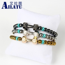 Ailatu Hot Sale Men's Powerful Dumbell Jewelry 6 mm Hematite Beads with Alloy Metal Fitness Dumbbell Charm Bracelet