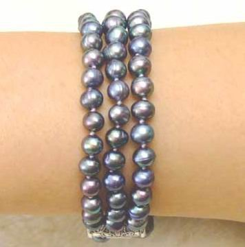 SALE  High luster Black 6-7mm natural freshwater Pearl 3 Strands Bracelet & Silver S925 clasp-b133 Wholesale/retail Free ship