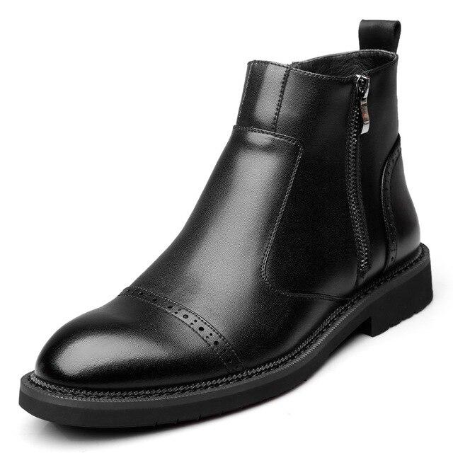 البريطانية نمط تصميم الرجال أزياء أسود تشيلسي الأحذية شهم حذاء بوت بطول الكاحل جلد طبيعي البروغ حذاء أيرلندي منحوتة بولوك حذاء رجل
