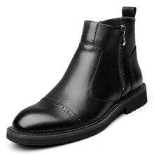 Britischen stil design männer mode schwarzen chelsea stiefel gentleman ankle boot echtes leder brogue schuhe geschnitzt bullock schuh mann