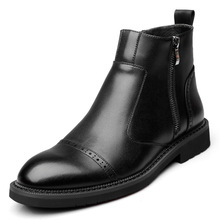 British style design mens fashion black chelsea boots gentleman ankle boot genuine leather brogue shoes carved bullock shoe man