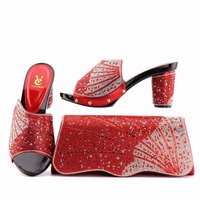 New RED Color African Shoes and Matching Bags Italian Bag and Shoes Set Italy Nigerian Shoes and Matching Bags Set With Crystal