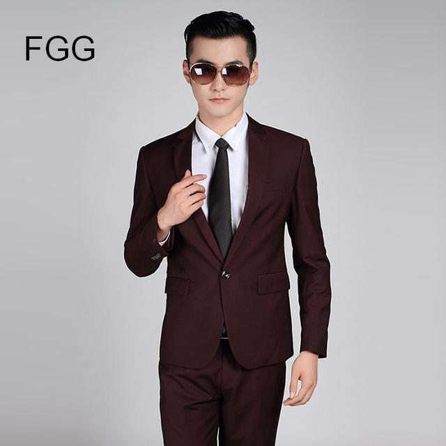 e5072dbadc (Chaqueta + Pantalones) marca de moda boda novio partido vino rojo traje  formal hombres