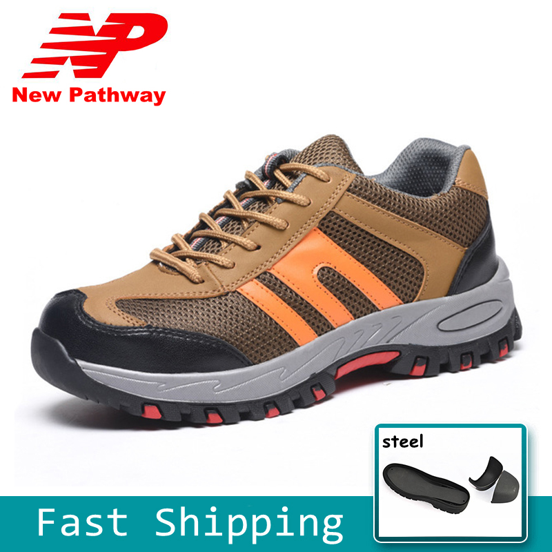 Straightforward Leather Safety Shoes Men Breathable Work Shoes Steel Toe Protective Footwear Fashion Safety Boots Shoes Big Size 36-45 Ms90 Men's Boots