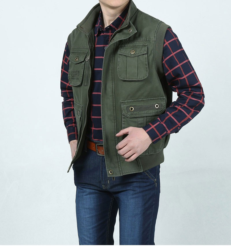 L~7XL 2016 Autumn Spring Brand Clothing Cargo Outdoor Vest Overcoats Men Casual Cotton New Plus Size Sleeveless Jackets Vests (5)