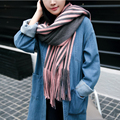 SH024 Luxury Brand Scarf Pashmina Echarp Cashmere Scarf Winter Scarves and Shawls Women Long Tassel Striped Scarves Female