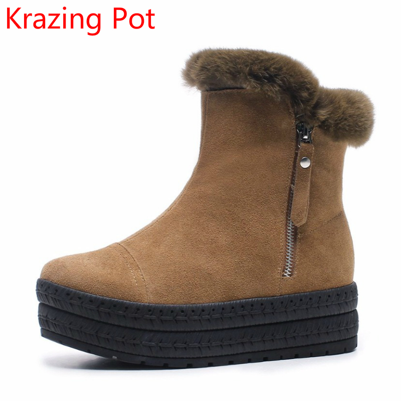 2018 Superstar Cow Suede Rabbit Fur Round Toe Platform Flat with Zipper Winter Snow Boots Keep Warm Ankle Boots for Women L07 2018 superstar cow suede streetwear square toe zipper high heels winter boots keep warm office lady ankle boots for women l50