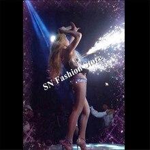 WX54 певица холодной Фейерверк DJ одежда серебряное зеркало бальных танцев бар платье бюстгальтер вечерние Disco ткань модель этапа лазерный костюмы