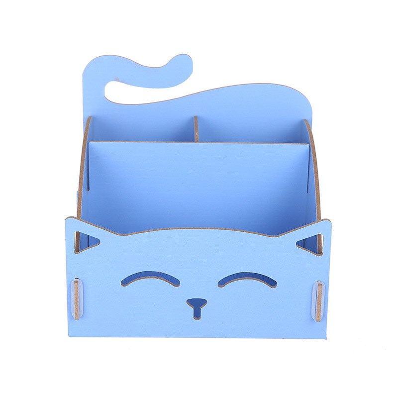 1 PC Cute cat pen holders Multifunctional storage Wooden Stationery Holders office organizer School supplies