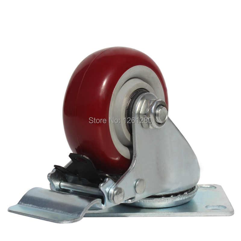 3 дюймовый ролик PU колеса подшипника ролик Универсальный немой промышленный маленький тележки медицинская кровать для колесного прицепа колесо с тормозом