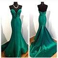 Esmeralda Verde Sirena del Satén Vestidos de Noche 2017 de La Venta Caliente Atractivo Del Amor Del Hombro Formal Largo Prom Vestidos Vestido