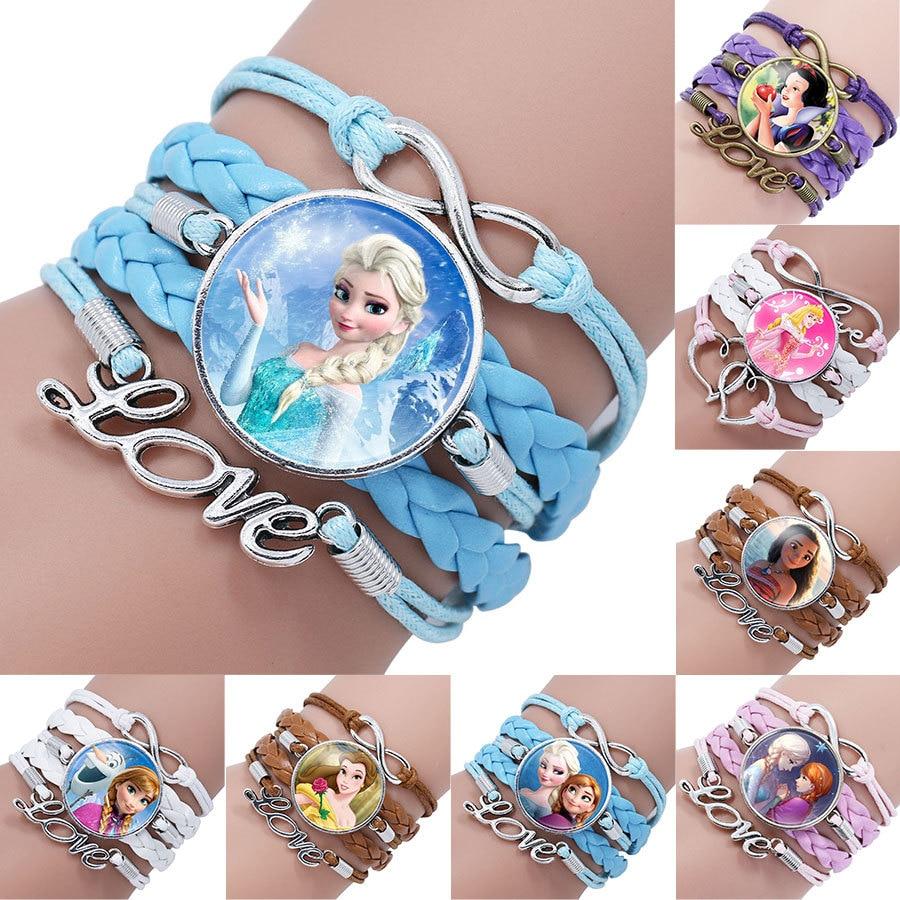 Disney Princess Children Cartoon Bracelet Frozen Elsa Lovely Wristand Girl Gift Clothing Accessories Bangle Kid Make Up Jewelry