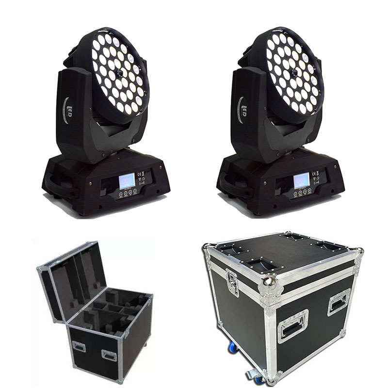 Flightcase 2pcs/lot Packed Wedding Church Decoration Stage Wash Head Moving Zoom 36*12W 4 In1 Led Rgbw Lyre Dmx Wash Moving Head