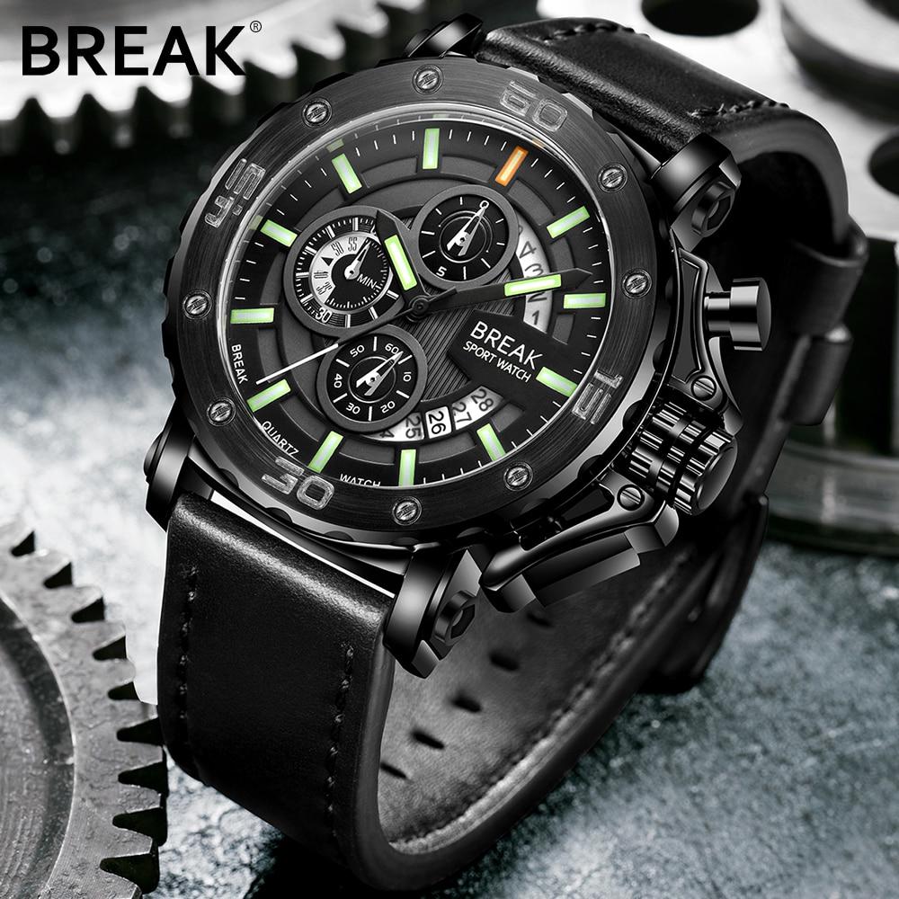 BREAK Men Top Luxury Brand Leather Strap Casual Fashion Chronograph Mega Luminous Business Sport Wristwatches Man