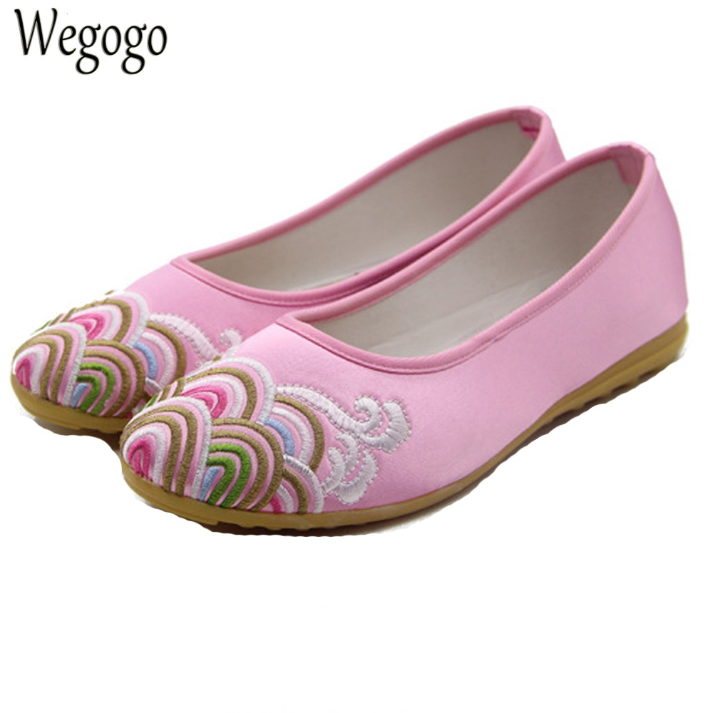 National Women Flats Shoes Chinese Wedding Beijing Satin Wave Embroidery Breathable Dance Single Ballet Shoes For Woman women flats old beijing floral peacock embroidery chinese national canvas soft dance ballet shoes for woman zapatos de mujer
