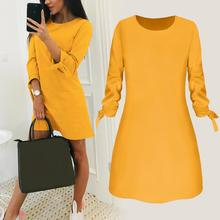 2019 New Mini Dress for Elegant Women Fashion Office Lady Solid Color Bow 3/4 Sleeve O-Neck Loose Summer Simple Design OL