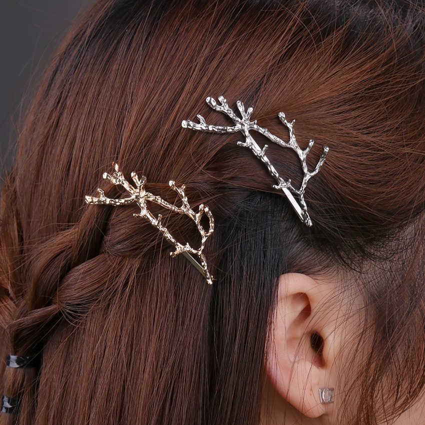 1PC Vintage Emas Perak Cabang Pohon Pin Rambut Wanita Alloy Cabang Pin Rambut Wanita Elegan Logam Rambut Fashion Pin aksesoris Rambut
