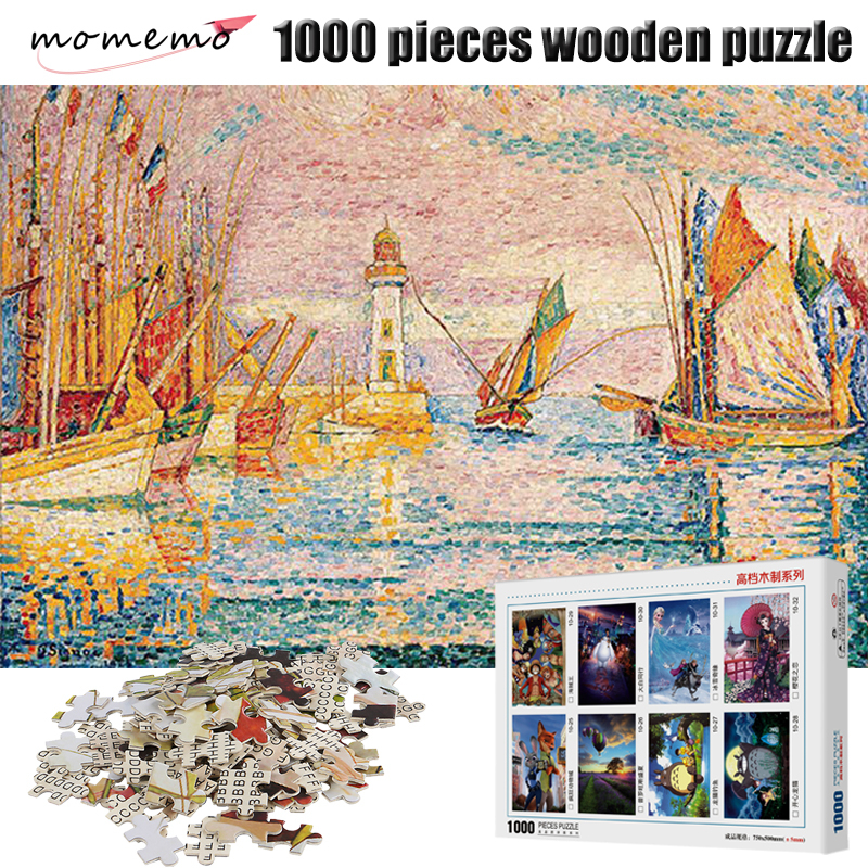 MOMEMO Harbour Scenery Puzzle for Adults Wooden Puzzle 1000 Pieces Puzzle Games Jigsaw Puzzles 1000 for Adults Children Kid Toys