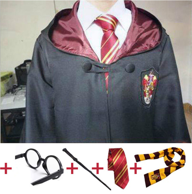 Robe Capo con Cravatta Sciarpa Bacchetta Occhiali Corvonero Grifondoro Tassorosso Serpeverde Hermione Costumi per Harri Potter Cosplay
