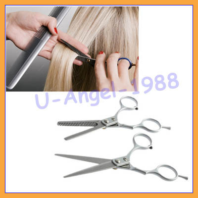 2pcs/set  Hair Cut Cutting Barber Salon Scissors Shears Clipper Hairdressing Thinning Set +Free shipping
