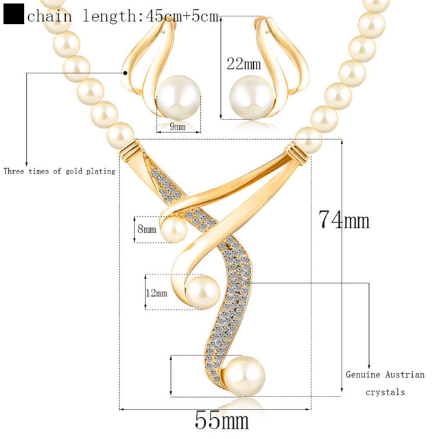 jewelry sets women fashion crystal bridal wedding african beads gold plated European Imitation pearl necklace earring set gift