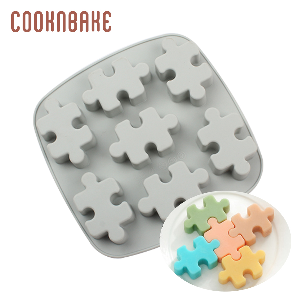 COOKNBAKE Puzzles Silicone Mold For Candy Chocolate 7 Hole Jelly Ice Cube Tray Soap Cake Decoration Form Puzzle Biscuit Pastry