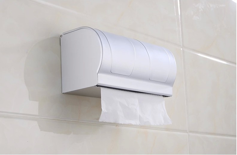 Waterproof toilet tissue box Aluminum roll of toilet paper roll holder sanitary towel rack toilet roll holder box space aluminum paper holder roll tissue holder hotel works toilet roll paper tissue holder box waterproof design