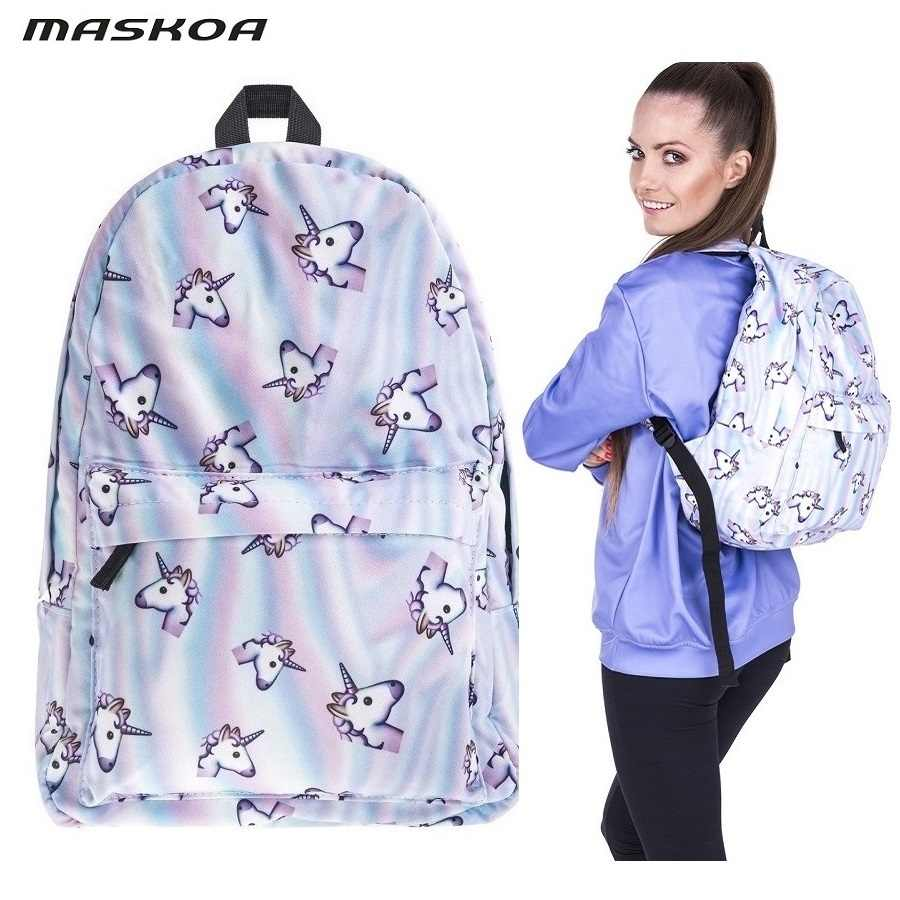 Unicorn cartoon backpack and bag women girl student cartoon school bag casual lady bags for women 2019 pencil case with gift
