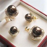 Свадебные украшения 10 мм и 14 мм кофе ожерелье серьги кольца > * 18 К позолоченные часы оптовая продажа кварцевые камень CZ кристалл