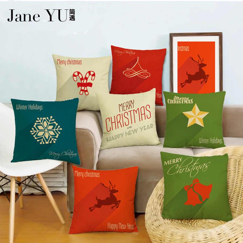 JaneYU Feliz Capa Fronha 45*45 cm Decorativo Festivo Do Natal Da Árvore de Natal de Papai Noel Dos Desenhos Animados Capas de Almofada Travesseiro