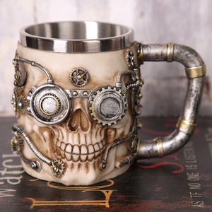 Personalized 3d Skull Robot Mug Cool Viking Skeleton Design Coffee Beer Tea Cup for Home Bar Party Gift for Men Beer Mugs(China)
