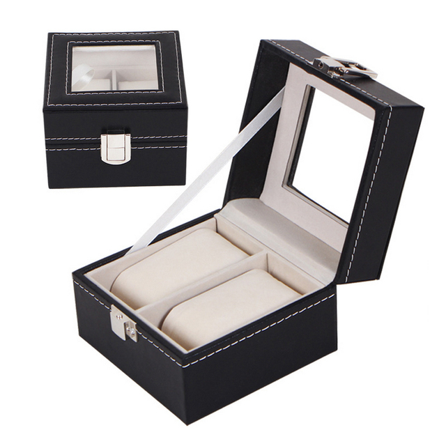 New Luxury 2 Grid Leather Watch Box Jewelry Display Collection