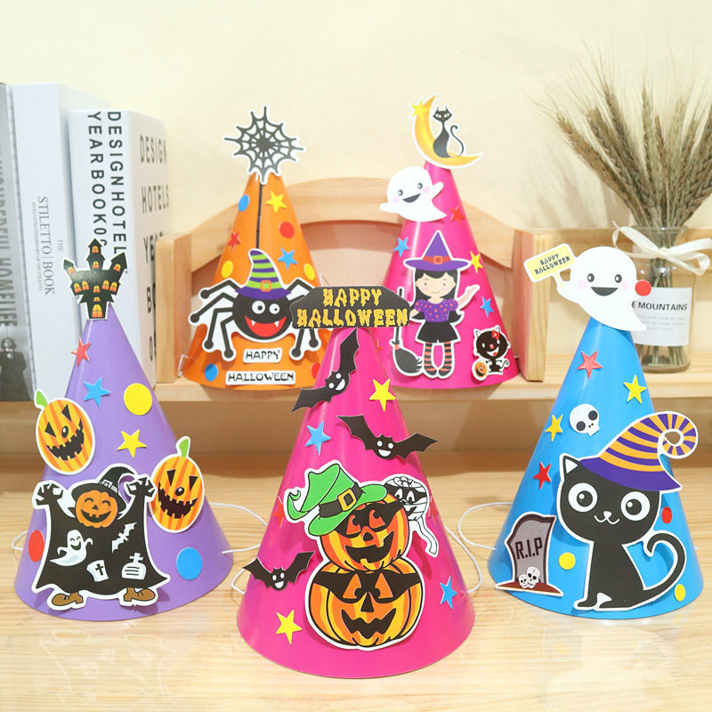 Kids DIY Halloween Party Hat Pumpkin Witch Happy Halloween Caps For Children Halloween Costume Cosplay Dress Up Decorations