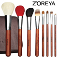 ZOREYA Brand High Grade Annatto Handle 20pcs Makeup Brushes Professional Animal Hair Cosmetics Cooper Ferrule Make Up Brush Set