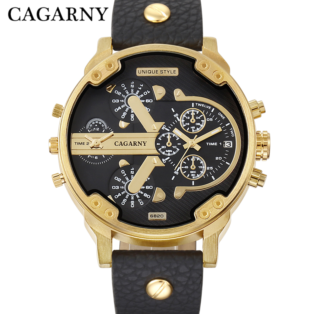 Luxury Cagarny Quartz Watch Men Black Leather Strap Golden Case Dual Times Military dz Relogio Masculino Casual Mens Watches ManLuxury Cagarny Quartz Watch Men Black Leather Strap Golden Case Dual Times Military dz Relogio Masculino Casual Mens Watches Man